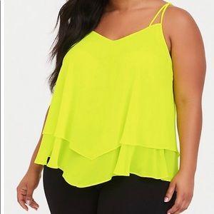 Torrid neon yellow cami 2X double layer